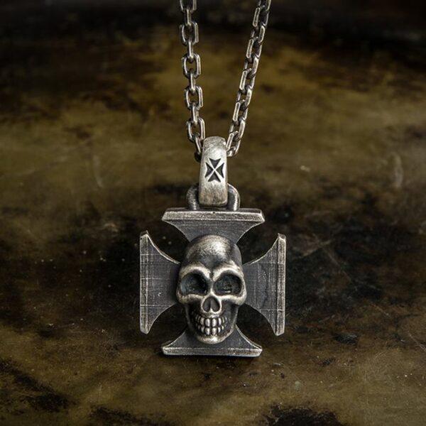 Iron Cross Skull Pendant Necklace