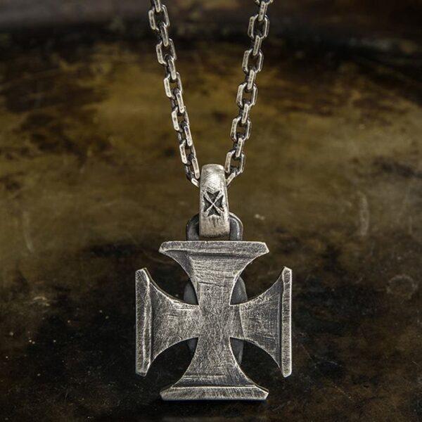 Fine Silver Iron Cross Skull Pendant Necklace