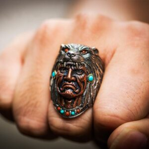 Indian Wolf Head Chieftain Turquoise Ring
