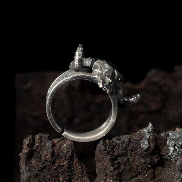 Mens Fine Silver Ram Skull Ring