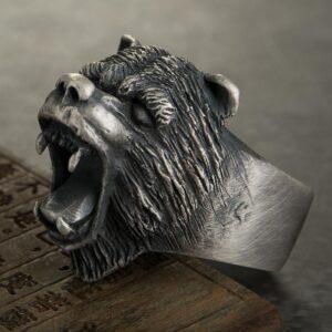 Fine Silver Roaring Bear Ring