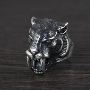 Sterling Silver Leopard Head Ring