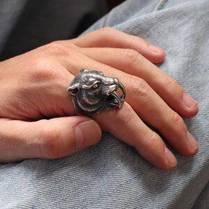 Sterling Silver Leopard Head Ring