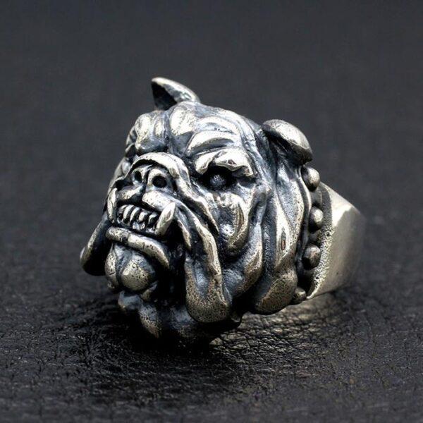 Sterling Silver Pug Dog Ring