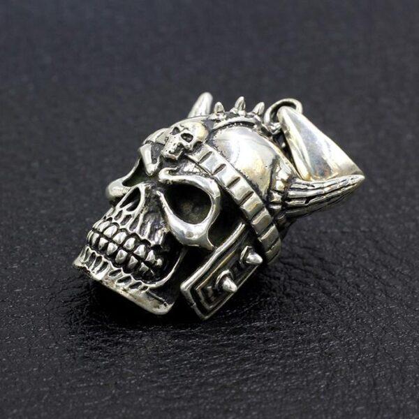 Mens Sterling Silver Samurai Skull Pendant