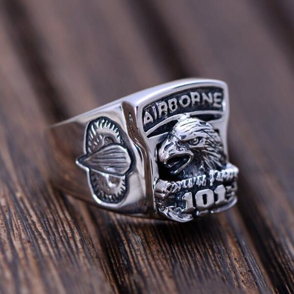 Mens Sterling Silver US Army Eagle Airborne Ring