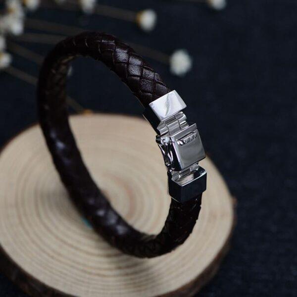 Mens Sterling Silver Woven Leather Bracelet