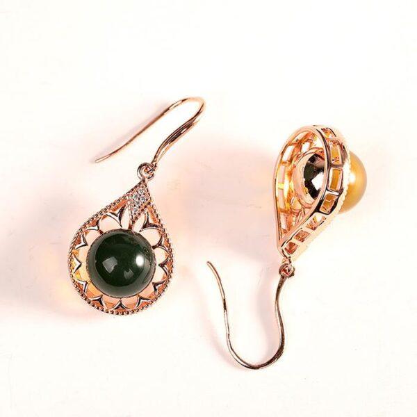 Rose Gold Sterling Silver Blue Amber Earrings