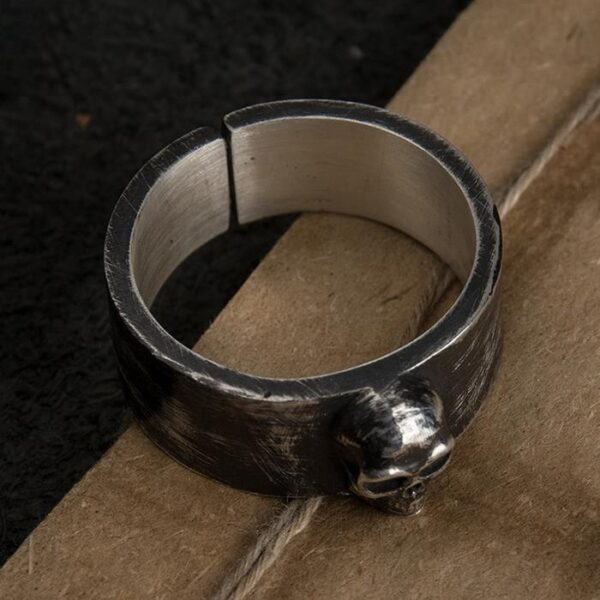 Silver Black Punk Skull Band Ring