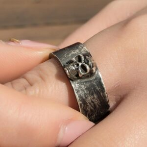 Silver Black Punk Skull Band Ring