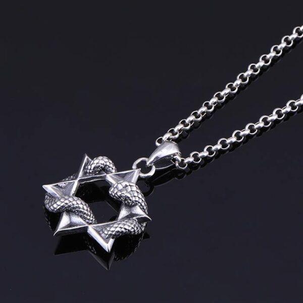 Star Of David Skull Pendant Necklace