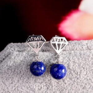 Sterling Silver Diamond Shape Earrings With Lapis Lazuli