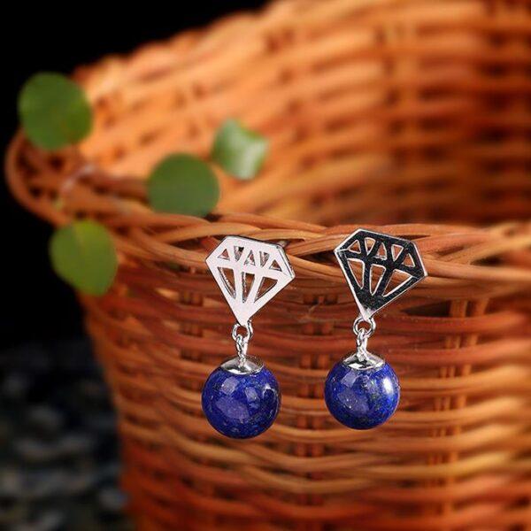 Sterling Silver Diamond Shape Earrings With Lapis Lazuli