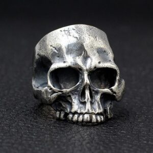Sterling Silver Half Jaw Skull Ring