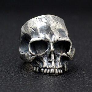 Sterling Silver Half Jaw Skull Ring