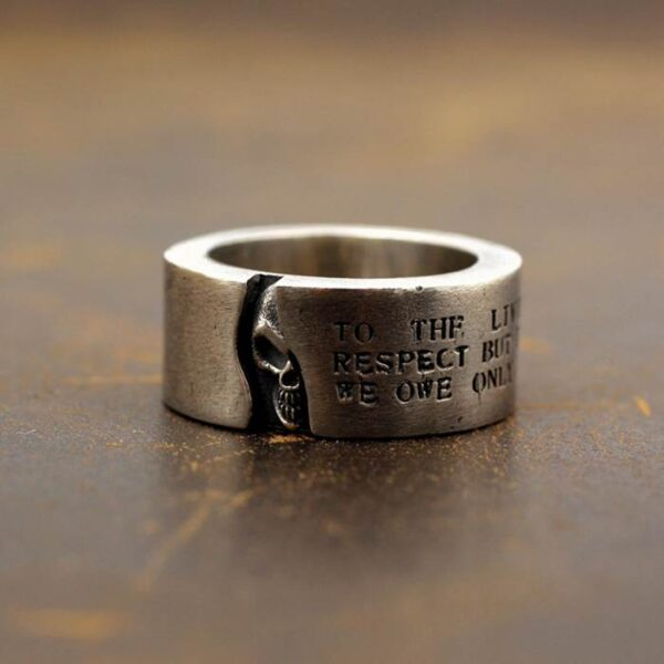 Sterling Silver Solid Half Face Skull Band Ring