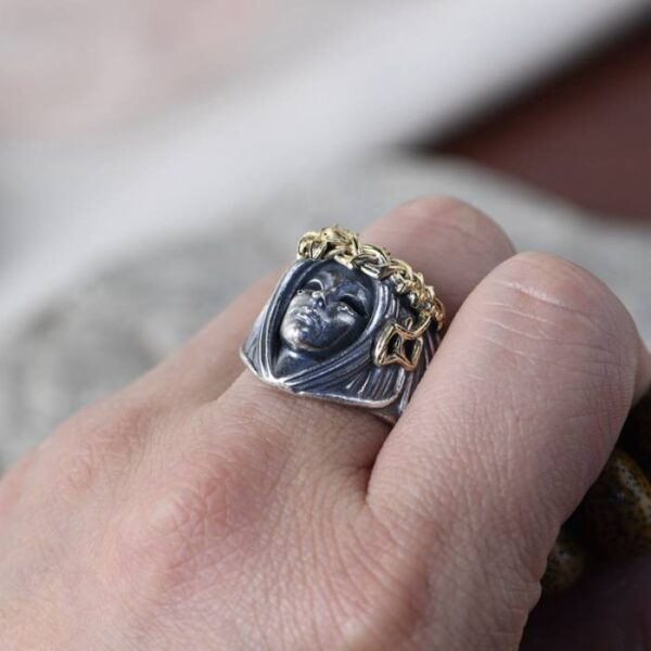 Thorn Crown Goddess Face Ring