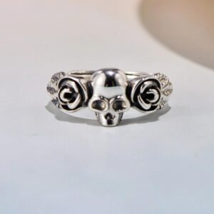 Women Silver Pretty Two Roses Skull Ring