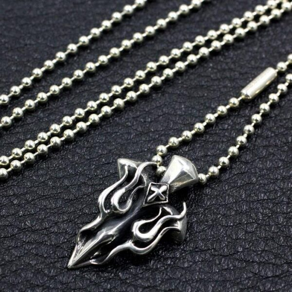Bloody Mary Flame Cross Pendant Necklace