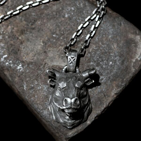 Cow Head Pendant Necklace
