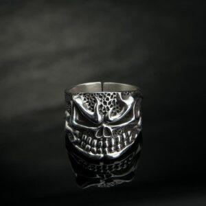 Fine Silver Skull Ring