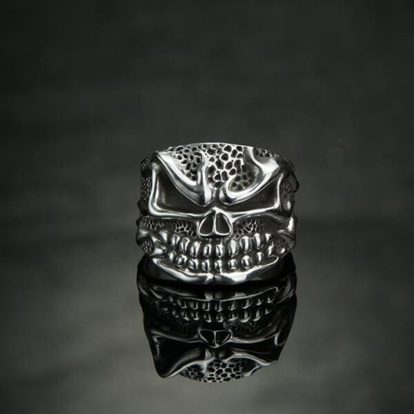 Fine Silver Hot Head Skull Ring