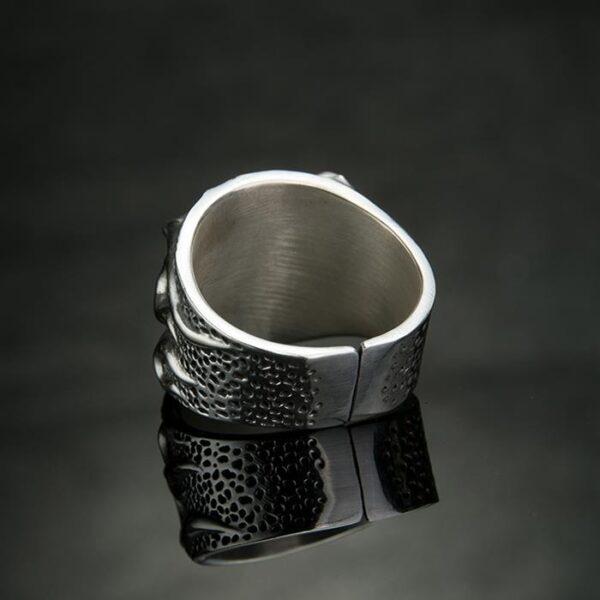 Fine Silver Hot Head Skull Ring