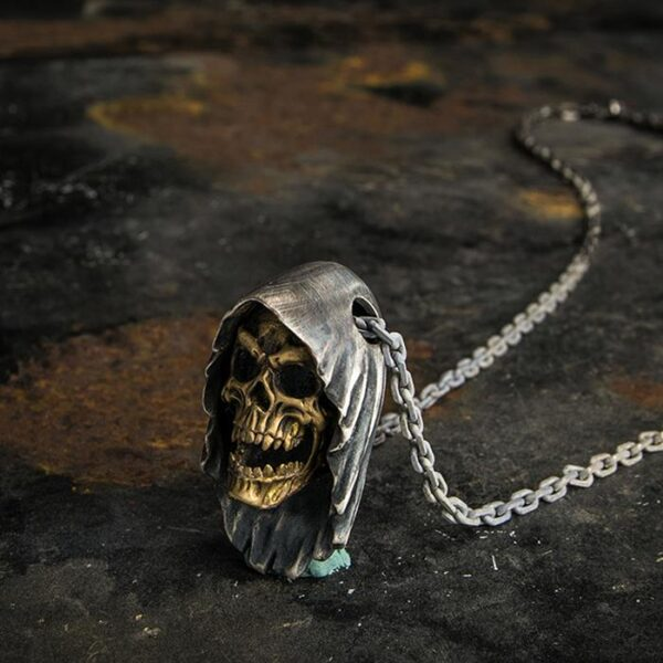 Reaper Vampire Skull Pendant Necklace