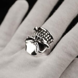 Fine Silver Skull Ring With Cigar