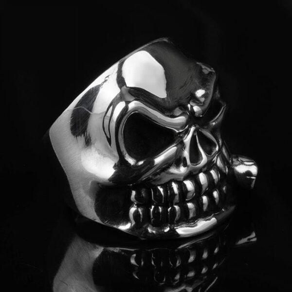 Fine Silver Skull Ring With Cigar