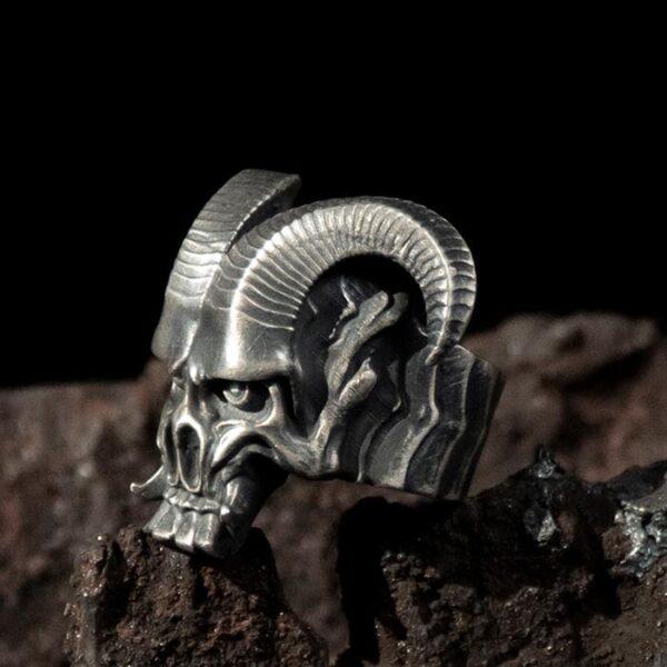 Silver Satan Goat Skull Ring
