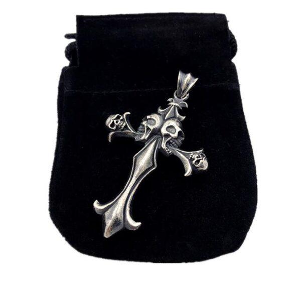 Sterling Silver 4 Skull Cross Pendant