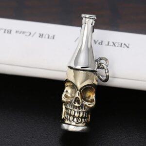 Beer Bottle Skull Pendant