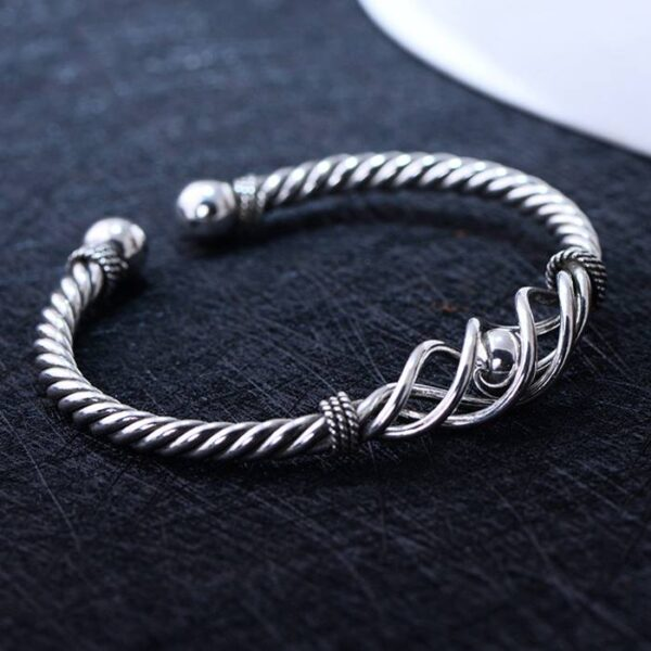 Sterling Silver Cable Open Bangle