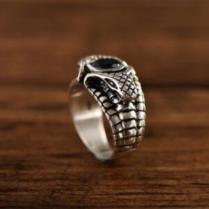 Sterling Silver Double Snake Obsidian Ring