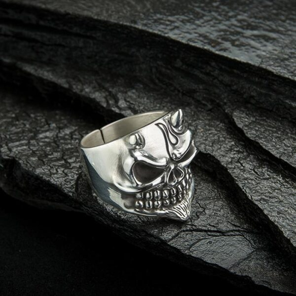 Sterling Silver Tribal Skull Ring With Horns