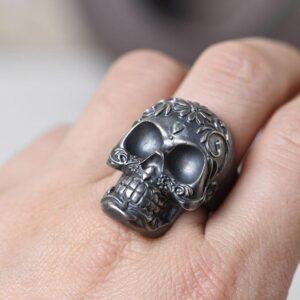 Matte Black Vintage Flower Skull Ring