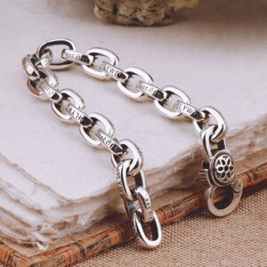 Silver Sakura Oval Links Bracelet