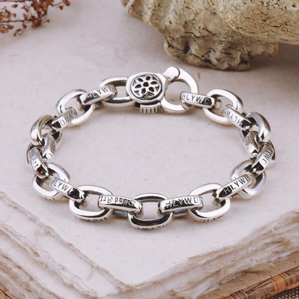 Silver Sakura Oval Links Bracelet