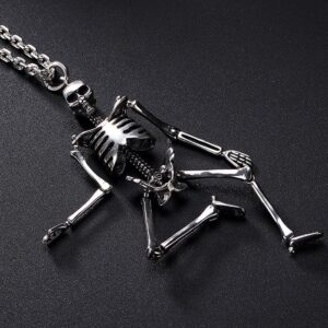 Silver Skeleton Pendant Necklace