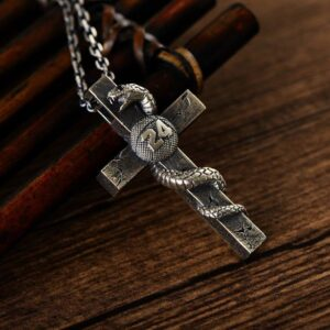 Silver Snake Cross Necklace