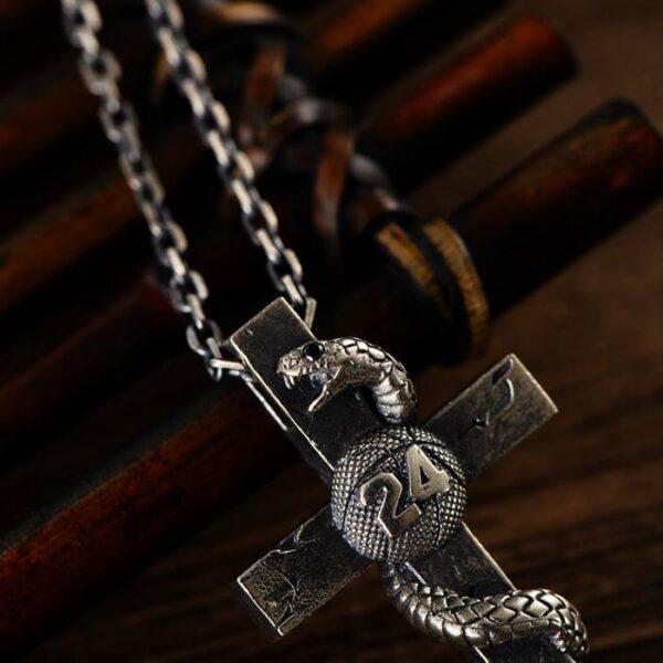 Silver Snake Cross Necklace