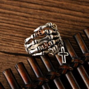 Skeleton Skull Corss Ring