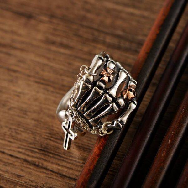 Skeleton Skull Corss Ring