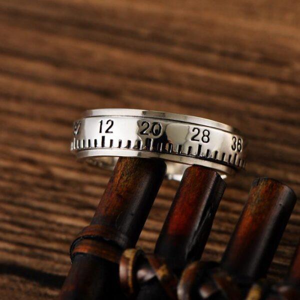 Sterling Silver Ruler Spinner Ring