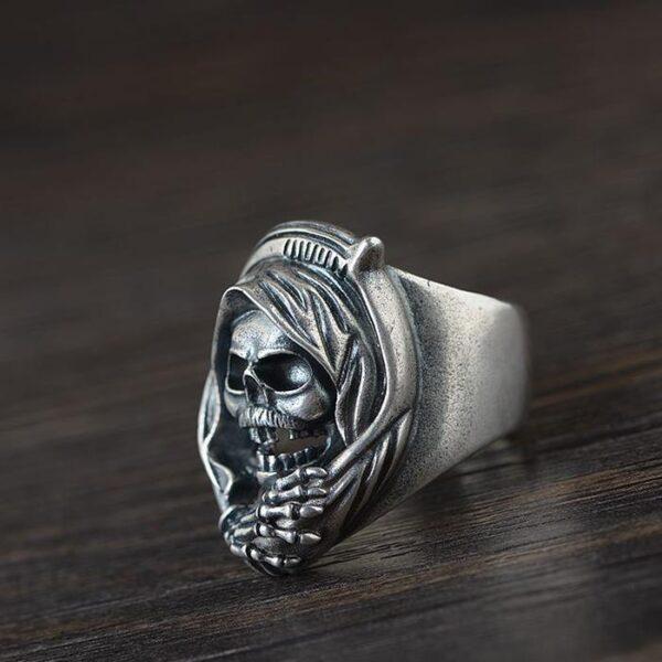 Sterling Sliver Mask Hood Skull Ring