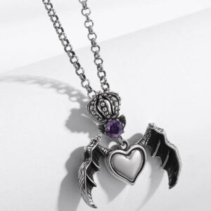 Crown Heart Wing Necklace