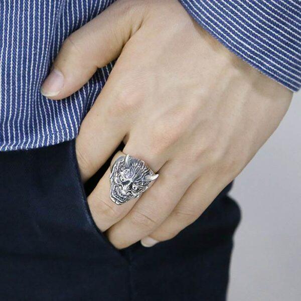 Men's Sterling Silver Hannya Mask Demon Ring
