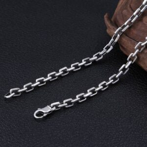 Mens Sterling Silver Wide Rectangle Links Chain