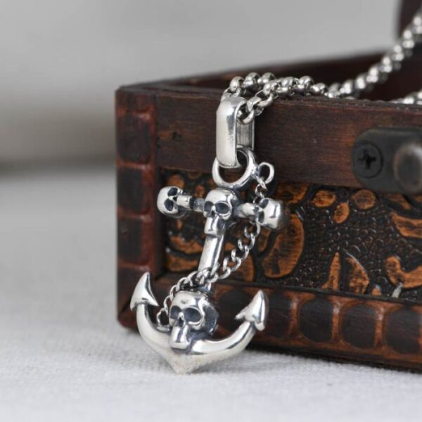 Silver Anchor Skull Pendant Necklace